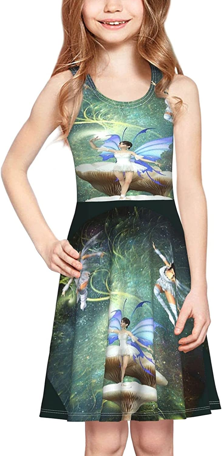 brillianting Girls Print Sleeveless Dress, Casual Party, 2-6 Years Old