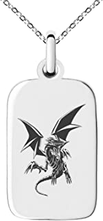 Yu-Gi-Oh! Blue-Eyes White Dragon Full Body Stainless Steel Small Rectangle Dog Tag Charm Pendant Necklace