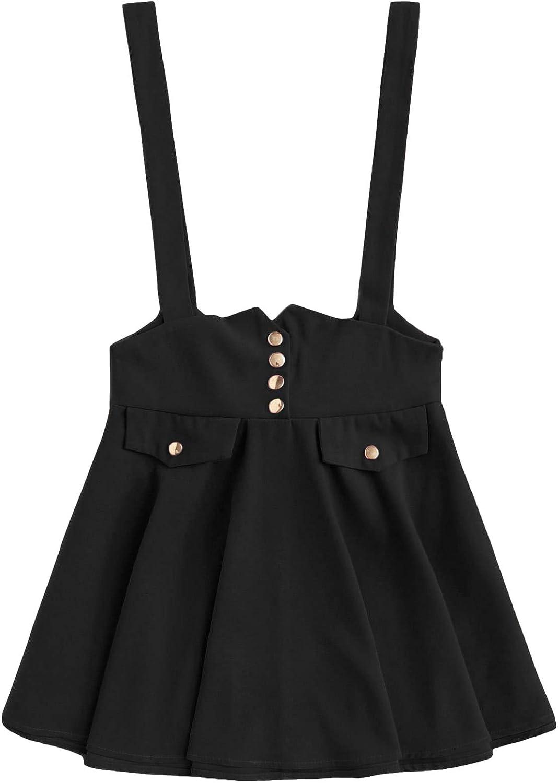 MakeMeChic Women's Casual Straps High Waist Suspender Skirt Pinafore Overall Dress