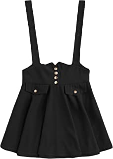 MAKEMECHIC Women's Casual Straps High Waist Suspender Skirt Pinafore Overall Dress