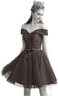 a2c7de6ac4f Haokeda Women Short Lace Homecoming Graduation Dresses Knee Length Formal  Cocktail Party Gowns