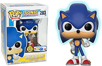 Funko Sonic w/ Ring [Glow-in-Dark] (Toys R Us Exclusive): Sonic The Hedgehog x POP! Games Vinyl Figure & 1 POP! Compatible PET Plastic Graphical Protector Bundle [#283 / 26572 - B]
