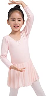 Dancina Girls Skirted Leotard Ballet Dance Dress Long Sleeve Cotton Front Lined