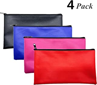 Joyous Journey 4 Colors Bank Deposit Money Bag Pouch, Utility Leatherette Securit Vinyl Zipper Wallet Pouches for Cash Money, Cosmetics, Tools, 11x6 inches