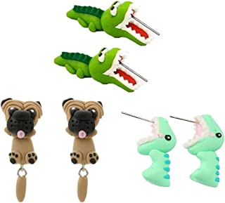 3 Pairs Biting Ear Earrings Polymer Clay Studs,Handcraft Cute 3D Crocodiles Dinosaur Pig Shapi Dog Insects Santa Claus Animal Flower Earrings-Chomper earringsFimo Studs for Girls,Style Random