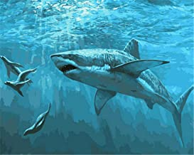 Painting by Numbers DIY Oil Painting for Adult Ocean, Creature, Shark Canvas Print Wall Art Decoration 40X50Cm