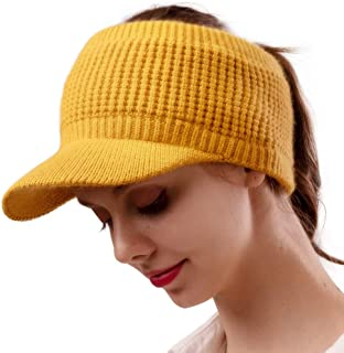 camptrace Beanie Tail Winter Hats for Women Warm Knit Messy High Bun Ponytail Hat Visor Outdoor Runner Beanie Cap