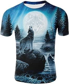 Spring/Summer Factory Direct Sales Wolf 3D Digital Printed Circular Collar Lovers T-Shirt
