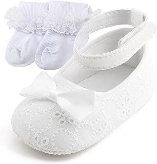 29acce51e7ec5 DELEBAO Chaussure Premier Pas Fille Blanc Chaussures de Bébé Baptême  Chausson Bebe Semelle Souple en Fleur