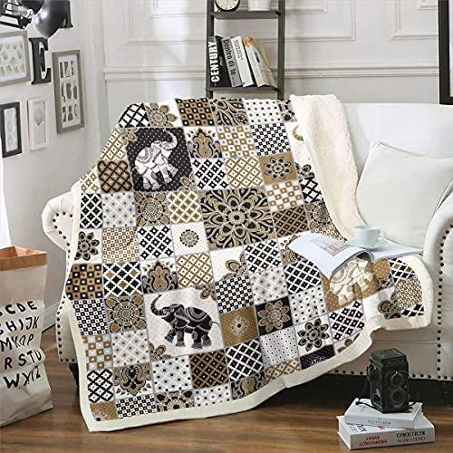 Manta de sherpa bohemia con estampado de mandala bohemio, manta de felpa geométrica con diseño de elefante 3D para adultos, manta de felpa para sofá, cama, sofá individual