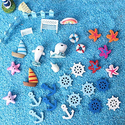 Miniature Garden Ornaments, Ocean Style Dollhouse Decoration, 60 Pcs Miniature Ornaments Kit Set for DIY Fairy Garden Dollhouse Decoration