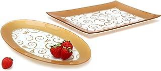 GAC Tempered Glass Oval Platter and Rectangular Serving Tray Set Gold Decorative Serving Platters - Break and Chip Resistant - Microwave Safe - Oven Safe - Dishwasher Safe (Economy Pack)