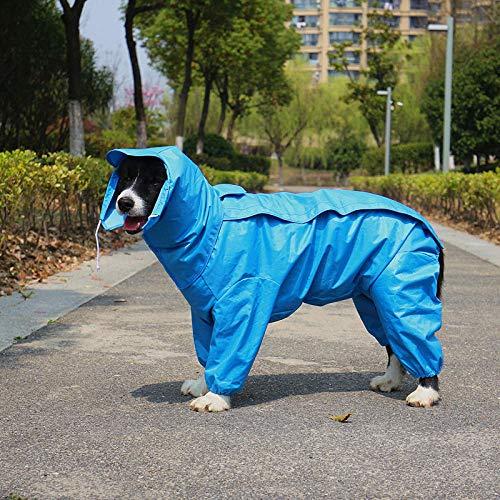 QKEMM Hundemantel Hunde Winter Hundejacke Regenmantel Vier Fuß mit Kappe Winddicht und Schmutzdicht Warm Hunde Hundebekleidung Gefütterte XXXXL Blau