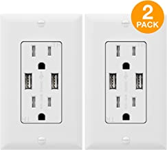 TOPGREENER 3.1A USB Outlet, USB Wall Outlet, 15A TR Receptacle, for iPhone XS/MAX/XR/X/8/7/6s/Plus, iPad, LG, HTC and more, Compatible Samsung Galaxy S9/S8/S7/S6, Note9/8/7 and more, 2-Pack, White