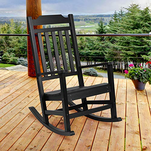 Flash Furniture Winston All-Weather Poly Resin Rocking Chair in Black