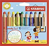 Lápiz de color multitalento STABILO Woddy 3 en 1 - Estuche con 10 colores