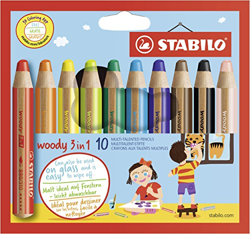STABILO 880/10 Woody 3-in-1 Multi-Talented Pencil - Assorted Colours, Wallet of 10