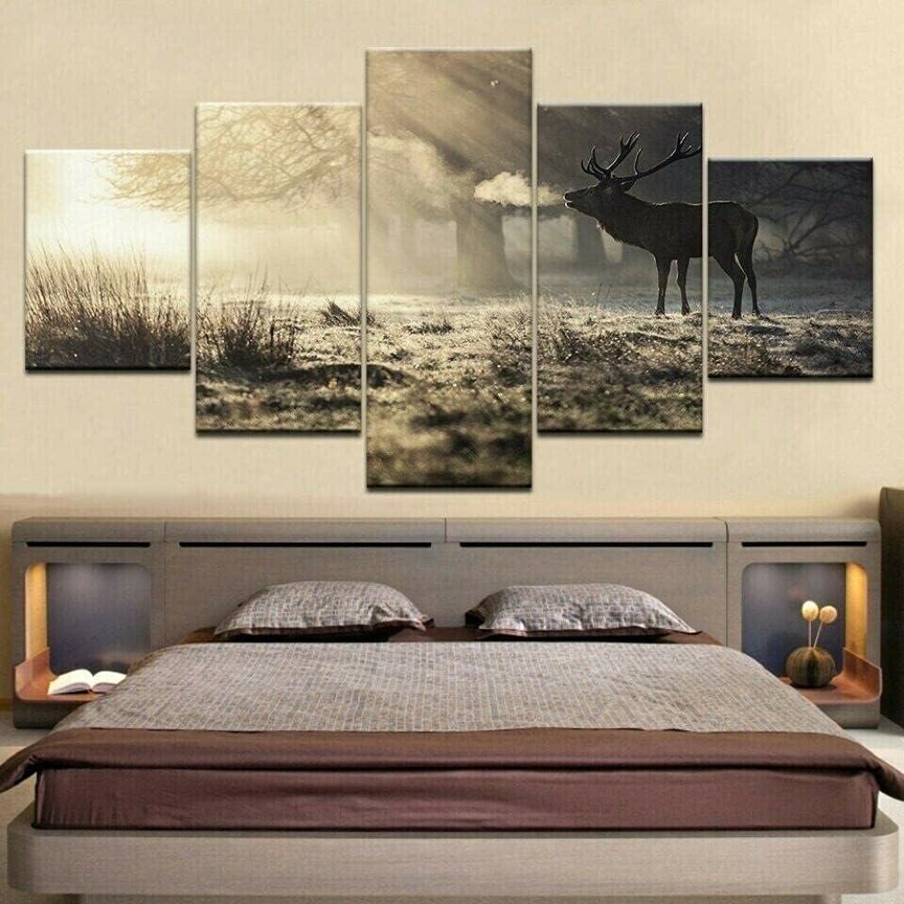 HFDSA Phoenix Mall Modern 5 Spring new work Panels Pictures Piece Canvas Art Deer Elk Wall