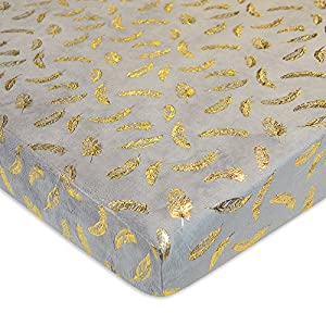 TL Care Printed Heavenly Soft Chenille Fitted Portable/Mini-Crib Sheet, Sparkle Gold Feather on Solid Grey