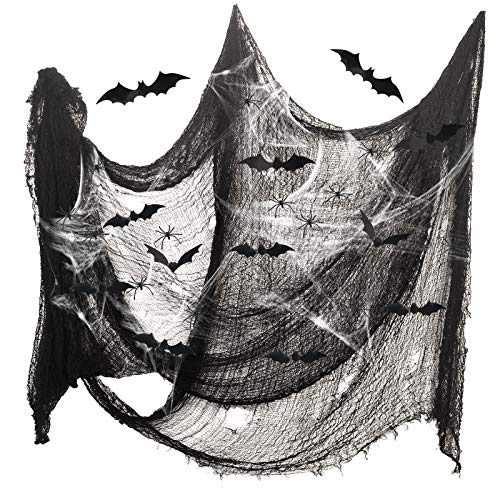 ZERHOK Ragnatela Halloween Decorazione,Filato Nero e 100g Ragnatela Bianca e 20 PCS Decorazione Ragno e 12 PCS Decorazione da Pipistrello 3D Decorazione Festa di Halloween