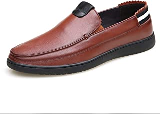 Leather Loafers for Men Gommino Slip on Elastic Bands Genuine Leather Experienced Stitched Flat Back Stripe shoes (Color : Brown, Size : 38 EU)