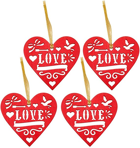 Creative Wooden Love Heart Shaped Hanging Plaque Rustic Wall Decor Wedding Party DIY Hollow Love Design Hanging Sign Pendant Wooden Craft Plaque 4Pcs Red
