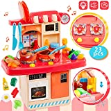 HERSITY Kinder Küchenspielzeug Spielküche Zubehör Kinderküche mit Leuchtenden Herd Spüle Backofen Kochgeschirr Spielzeug Küchen Spielset Rollenspiel Geschenk für Jungen Mädchen