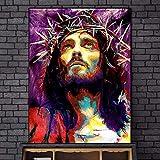 UIOLK Cuadro de Lienzo con Retrato de Jesús Abstracto, póster y Foto, Cuadro artístico de Pared, Pintura Decorativa sin Marco