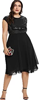 Womens Plus Size Sequin Short Cap-Sleeve Holiday Party Homecoming Midi Dress