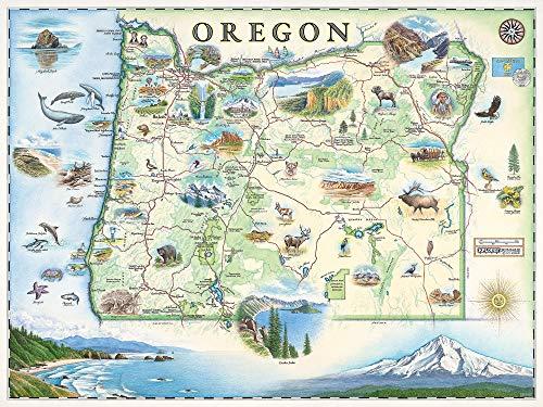 Póster de mapa de Oregon – auténticos mapas dibujados a mano en el viejo mundo, estilo antiguo – Art Deco – impresión litográfica