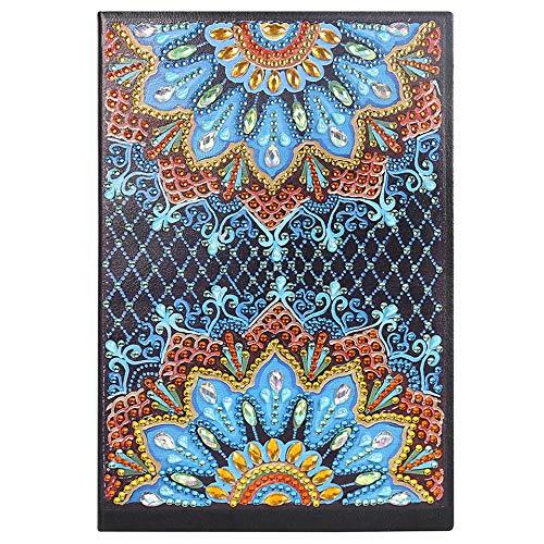 5D DIY Crystal Diamond Art Kits Notizbuch blanko A5, Schreibnotizbuch Geheimes Tagebuch für Frauen Skizzenbuch für Anfänger Notizblock A5 mit bunten Diamanten Blau Mandala für Büro Basteln