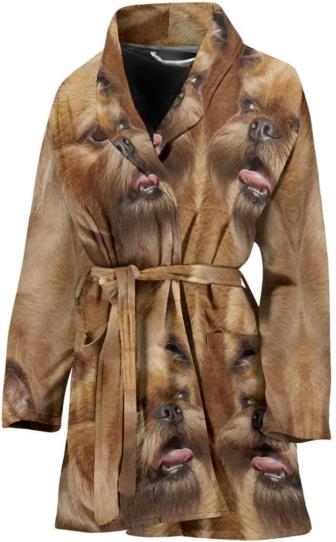 Amazing Brussels Griffon Dog Print Women's Bath Robe