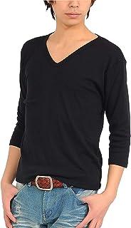 (スペイド) SPADE 七分袖Tシャツ メンズ Vネック Uネック Tシャツ 七分丈 無地 【q922】 (XL, V×ブラック)