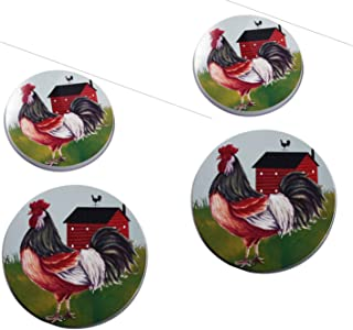 Rooster Burner Covers ~ Rooster Design Set of 4 (Rooster Farm House Country)