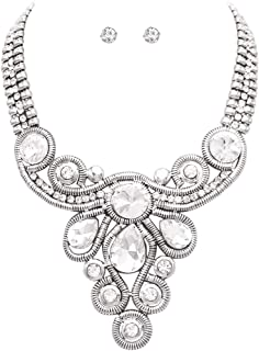 Rosemarie Collections Women's Teardrop and Round Rivoli Crystal Rhinestone Necklace and Earrings Statement Jewelry Set