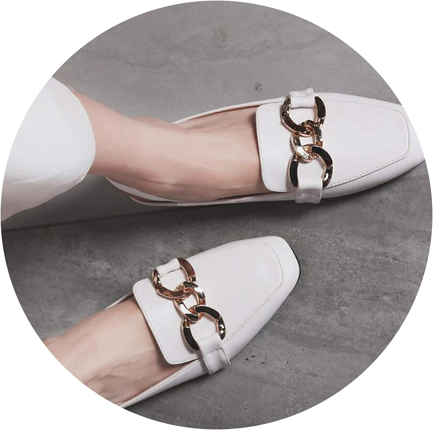 Heat-Tracing Woman Mules shoes 40 41 42 Big Size Sandals Tassel Chains Metal Buckle Design Slippers Square Toe Back Strap Mules