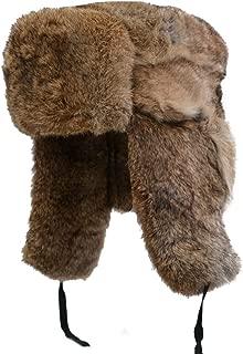 Yosang Genuine Rabbit Fur Russian Ushanka Winter Hat Trapper Bomber w/Ear Flaps
