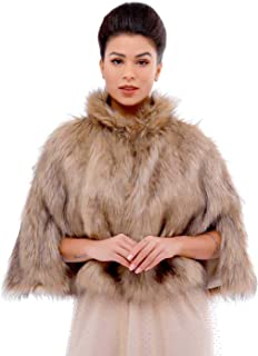 Aukmla Bride Wedding Faux Fur Cape Bridal Fur Stole Wraps and Shawls Winter Capelet for Women and Girls