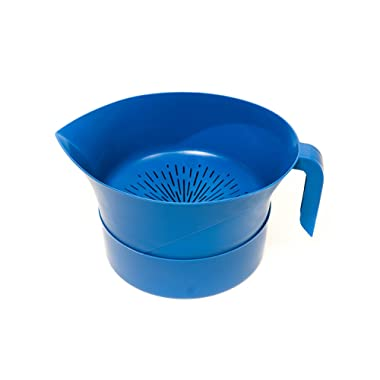 Blue Easy Greasy Plastic Strainer with Handle -3 Pc Colander Set - Ground Beef Grease Strainer (Blue)