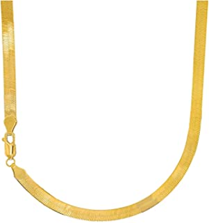 14 Karat Solid Yellow Gold Flexible Silky Imperial Herringbone Necklace 5.0 mm (16