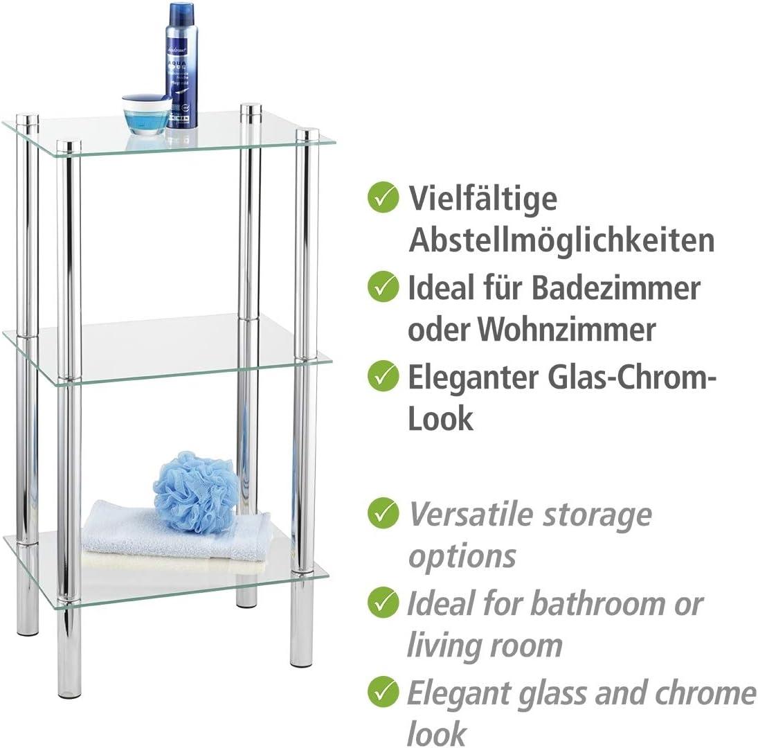 WENKO Regal Yago viereckig mit 20 Glasablagen   Badregal, Stahl, 20 ...