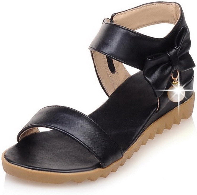 WeiPoot Women's PU Solid Chains Open Toe Low-Heels Wedges-Sandals