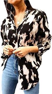 UUGYE Women Button Down Casual Tie Dye Print Long Sleeve Tops Blouse Shirts