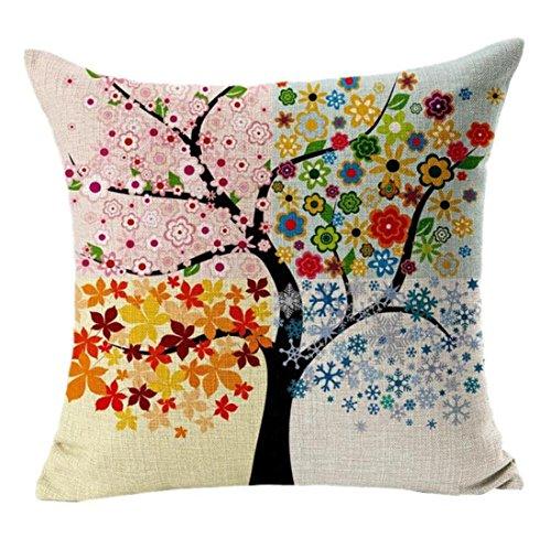 Sannysis Albero Fiori cuscini di cotone stampato in lino Divano Vintage Federa