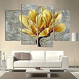 Peintures murales de fleurs jaunes sans cadre Livecity, lot de 4pièces - décoration des salons d'hôtels