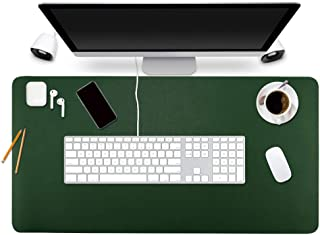 "BUBM Desk Pad Protector 35.4"" x 17"", PU Leather Desk Mat Blotters Organizer with Comfortable Writing Surface(Dark Green)"