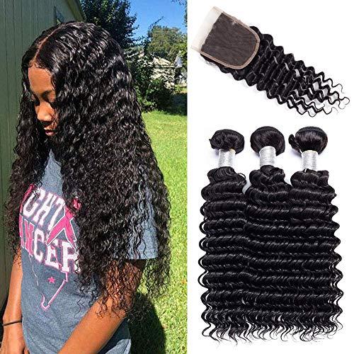 Youth Hair Deep Wave Tissage avec fermeture de humain Cheveux 3 Bundles with Closure 100% Naturel Cheveux Humain Tissage profonde (14 16 18 +12 inch)