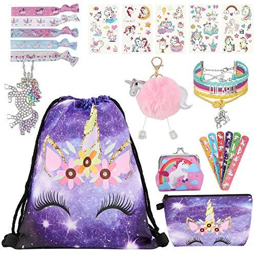 bilkoivn 9 Stk. Einhorn Geschenke für Mädchen - Einhorn Kordelzug Rucksack Make-up Tasche für Einhorn Party Gefälligkeiten