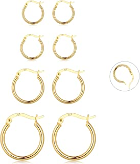 Gold Hoop Earrings for Women and Men 4 Pairs Small Endless Sterling Silver Post Earring Hoops Set(12/15/20/24mm)