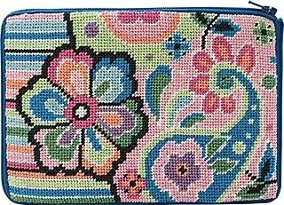 Stitch & Zip Needlepoint Cosmetic Purse Kit- Pastel Floral Paisley